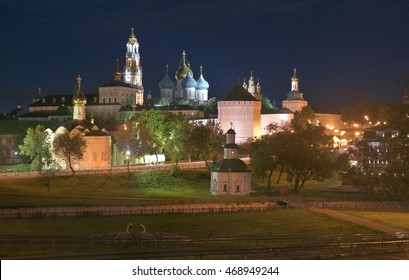 Sergiev Posad, Russia - August 29, 2015: Night view of the Cathedral of the Holy Trinity St Sergius Lavra. The center of pilgrimage of the Christian. Sergiev Posad is part of the Golden ring of Russia