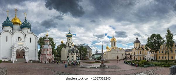 SERGIEV POSAD, RUSSIA - June 20, 2018: Panorama The famous Holy Trinity-St. Sergius Lavra