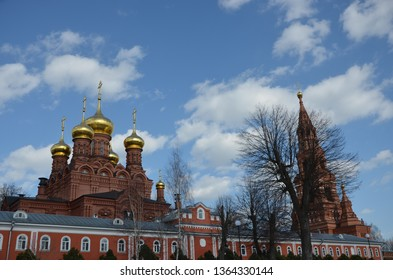 Sergiev Posad, Russia - March 31 2019: Chernihiv Gethsemane Skete. Monastery of the Trinity-Sergius Lavra 3 km East of the Lavra, on the Northern shore of the Eastern Gulf of the upper Skete pond