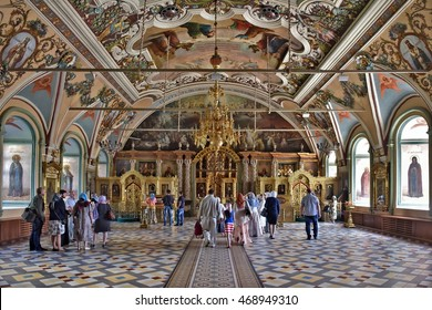 Sergiev Posad, Russia - may 28, 2016: the Main altar with icons and painted walls in the Cathedral of the Holy Trinity St. Sergius Lavra. Sergiyev Posad is a pilgrimage center of the Christian world.