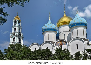 Sergiev Posad, Russia - may 28, 2016: the Cathedral of the Holy Trinity St. Sergius Lavra. The center of pilgrimage of the Christian world. Sergiyev Posad is included into the Golden ring of Russia.