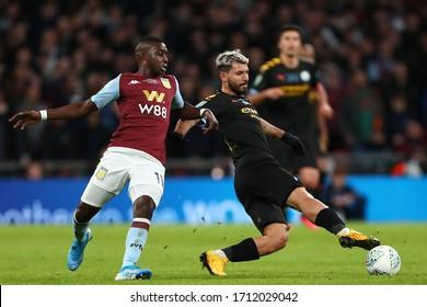 Sergio Aguero of Manchester City and Marvelous Nakamba of Aston Villa in action - Aston Villa v Manchester City, Carabao Cup Final, Wembley Stadium, London, UK - 1st March 2020