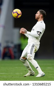 Sergio Ramos of Real Madrid controls the ball during the week 23 of La Liga between Atletico Madrid and Real Madrid at Wanda Metropolitano stadium on February 09 2019, in Madrid, Spain.