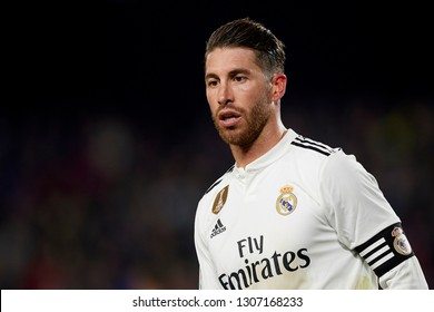 Sergio Ramos of Real Madrid during the Spanish Cup (King's cup), first leg semi-final match between FC Barcelona and  Real Madrid at Camp Nou stadium on February 6, 2019 in Barcelona, Spain.
