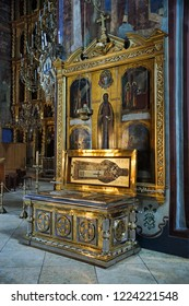 SERGIYEV POSAD, MOSCOW REGION, RUSSIA - October 26, 2018 Relics of St. Innocent of Alaska and Icon of St. Sergius of Radonezh  inside Assumption Cathedral in the Holy Trinity – St. Sergius Lavra.