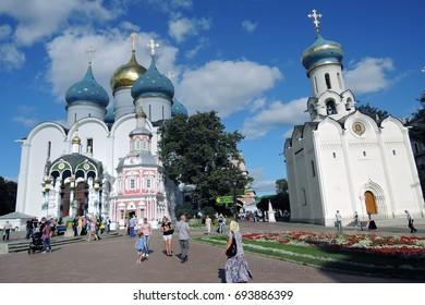 SERGIYEV POSAD, RUSSIA - AUGUST 09, 2017: Architecture of Trinity Serguis Lavra, Sergiyev Posad, Russia. Popular landmark. Color photo.