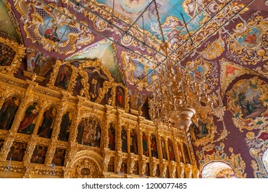 SERGIYEV POSAD, RUSSIA - AUGUST 19, 2018. Interior of Trinity Lavra of St. Sergius monastery, Sergiyev Posad, Russia
