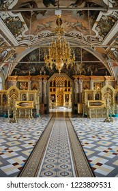 SERGIYEV POSAD, RUSSIA -  Inside Refectory Chamber - The Way to St. Sergius Church in Holy Trinity St. Sergius Lavra