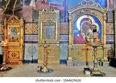SERGIYEV POSAD, RUSSIA - MARCH 20, 2018: Assumption church interior. Trinity Sergius Lavra. Sergiyev Posad, Russia. Popular landmark.