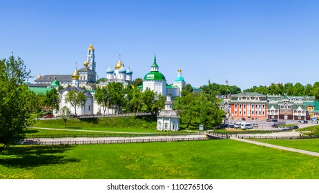 SERGIYEV POSAD, RUSSIA, on MAY 21, 2018. Troitsko-Sergiyevskaya Laurus, main sight of the city and one of significant orthodox shrines. A panoramic view from the survey platform