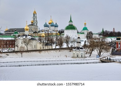 SERGIYEV POSAD, RUSSIA - View from an observation platform at Blinnaya hill on the magnificent architectural ensemble of Holy Trinity-Saint Sergius Lavra in winter.