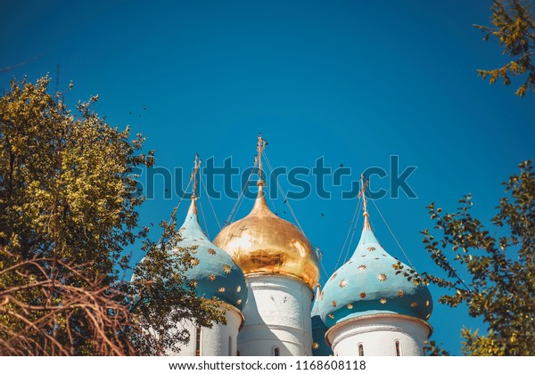 SERGIYEV POSAD/RUSSIA - JULY 18, 2018: Church in honor of the Descent of the Holy Spirit on the Apostles.  Trinity Lavra of St. Sergius