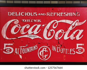 Seri Kembangan, Malaysia - 9 December 2018 : Closeup a Coca-Cola poster used to promote the product in the streets