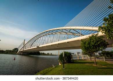 The Seri Saujana Bridge is a main bridge in Putrajaya, the Malaysian capital. The bridge's design is unique cable-stayed arch bridge which is similar to the Sydney Harbour Bridge in Sydney, Australia.