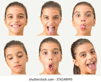 Series of 6 face portraits of a young girl