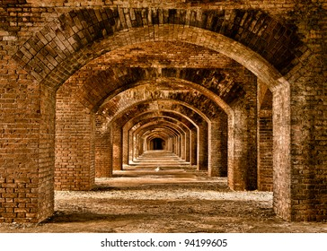 Series of arches within Fort Jefferson at Dry Tortugas National Park near Key West, Florida