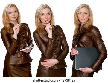 A series of the attractive business woman isolated on the white