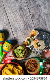 A series of background images for Cinco De Mayo fiesta celebrations.  Margaritas, tacos, serape, lights, and more