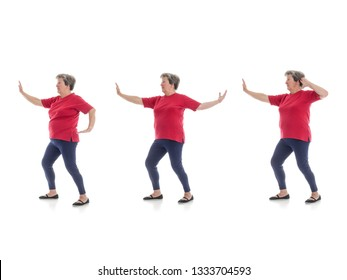 Series of basic Tai chi forms performed by older woman shot on white background