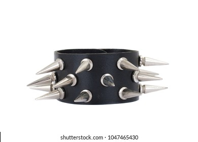 Series. Black Leather Belt with Chrome Studs