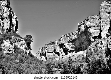 Series of black and white artistic photographs of the Foz de Lumbier natural park, Navarra, spain,