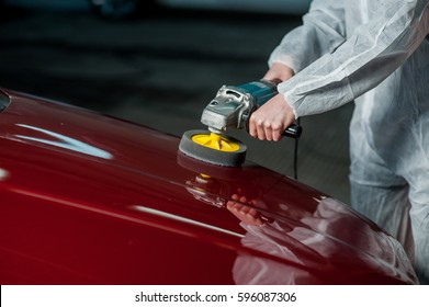 A series of detailed cars: Polishing a car