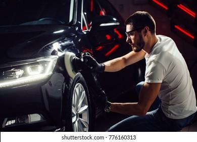 A series of detailed cars: Polishing a car