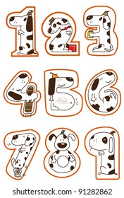 a series of doggy for a concept picture for number 1-9. can use for education, birthday, years old, anniversary.