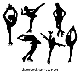 Series of figure skater silhouettes (various positions / poses)