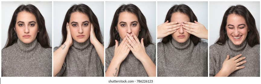Series of five portraits of a pretty woman showing a serious look, laughing and the three monkey concept - hear no evil, see no evil, speak no evil