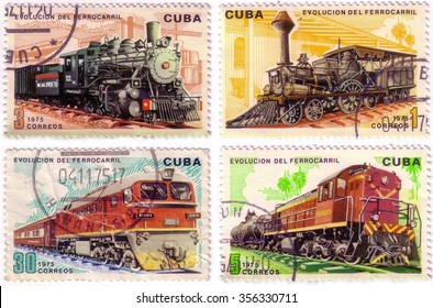 Series of four post stamps printed in Cuba shows moving train and devoted evolution of railway traffic,series .Circa 1975