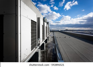 A series of gradually receding air conditioning units on the roof with blue sky and clouds in the background.