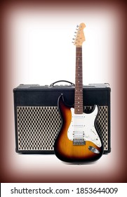Series. guitar amplifier and electricguitar on gradient background