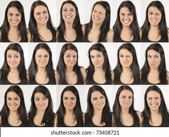 Series of head portraits of a happy and laughing natural young woman