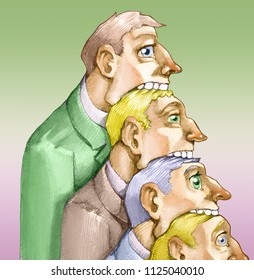 a series of heads in profile, the tries more aloft to swallow that under of him that in turn ago the same with that under up to that more in low that has the worried air