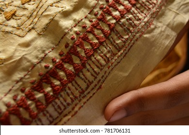 A series of kantha embroidery done by rural women of India. Such fine designs are made.