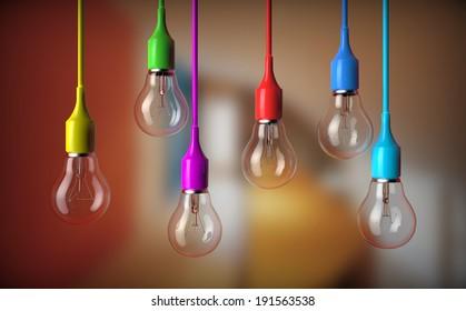series of light bulbs hanging with bulb