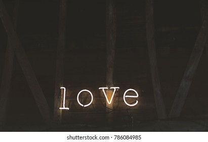 The series of lights form the word love