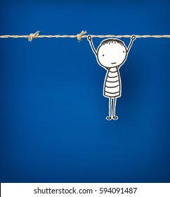 Series of  a Little hand drawn Man, Concepts - Hanging On. When you come to the end of your rope, tie a knot, and hang on! About perseverance