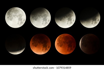 series of the lunar eclipse of the moon with blood moon