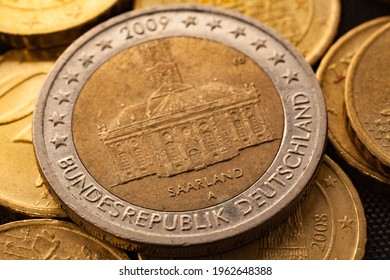Series of macro shots of euro coins. Reverse of 2 Euro coin. Year of manufacture 2009. Country Germany. Special coinage, Saarland