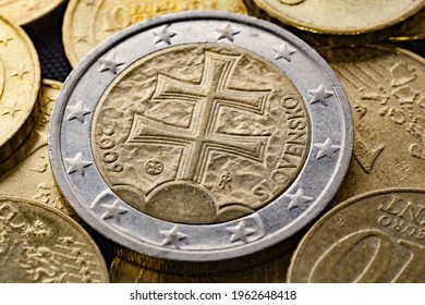 Series of macro shots of euro coins. Reverse of 2 Euro coin. Year of manufacture 2009. Country Slovakia