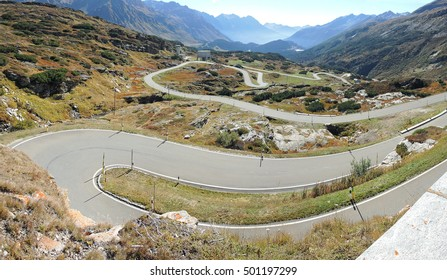 SERIES OF MOUNTAINS BENDS THAT CREATE BEAUTIFUL SHAPES. WINDING ROAD DRIVE TO SAN BERNARDINO PASS, SWITZERLAND