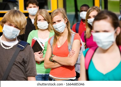 Series with multi-ethnic group of teenage students boarding and on a school bus. Images dealing with wearing face masks to avoid infection or transmission of disease.