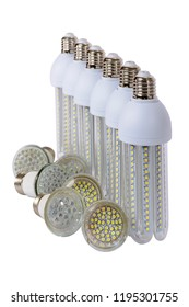 Series of new generation LED lamps with high brightness. White background and E27 socket. White background.