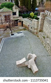 "Series of photographic Chopped photographic angle of a square of abstract sculpture called ""meeting place"" of Eduardo Chillida in square in Toledo, Spain."
