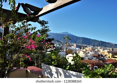 series of photographs of the Puerto de la Cruz village  in Tenerife, Canary Islands, Spain, a great tourist destination, photographs of the volcano El Teide,