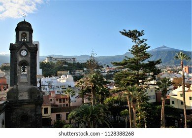 series of photographs of the Puerto de la Cruz village in Tenerife, a great tourist destination,