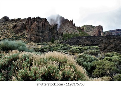 Series of photographs of the Cañadas in the Teide National Park, in Tenerife,Canary Islands, Spain,