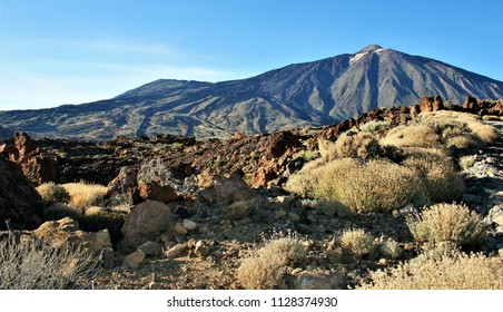 series of photographs of the volcano El Teide, Cañadas of the Teide, in Tenerife, Canary Islands, Spain,